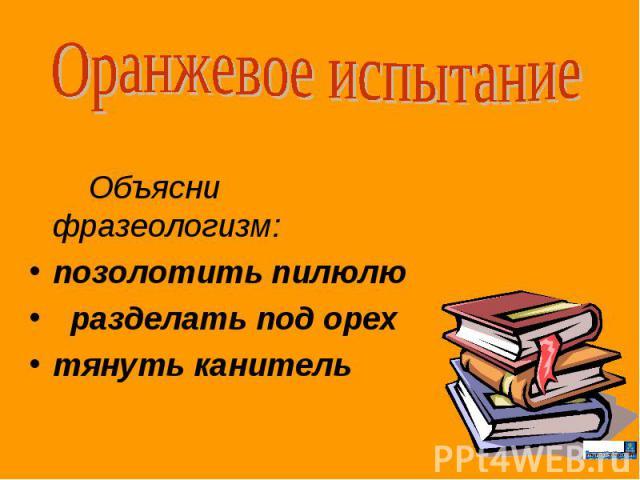 Оранжевое испытание Объясни фразеологизм: позолотить пилюлю разделать под орех тянуть канитель