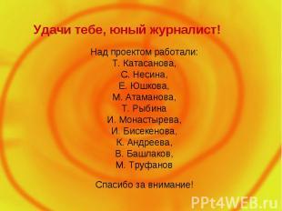 Удачи тебе, юный журналист! Над проектом работали: Т. Катасанова, С. Несина, Е.
