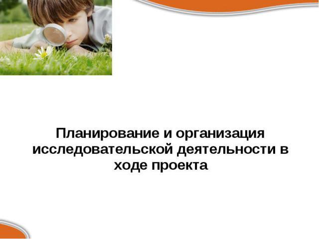 Планирование и организация исследовательской деятельности в ходе проекта