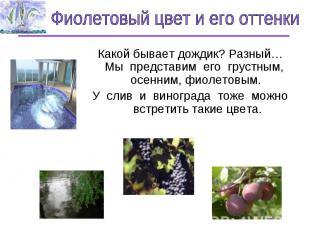 Фиолетовый цвет и его оттенки Какой бывает дождик? Разный…Мы представим его грус