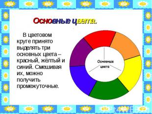 Основные цвета. В цветовом круге принято выделять три основных цвета – красный,