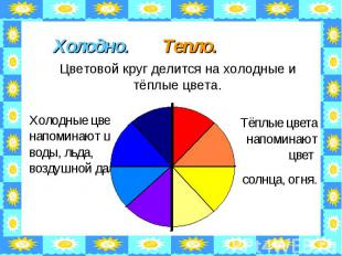 Холодно. Тепло. Цветовой круг делится на холодные и тёплые цвета. Холодные цвета