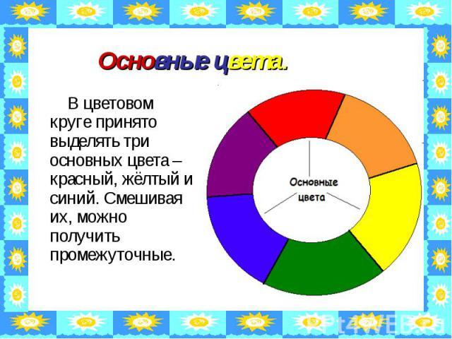 Основные цвета. В цветовом круге принято выделять три основных цвета – красный, жёлтый и синий. Смешивая их, можно получить промежуточные.