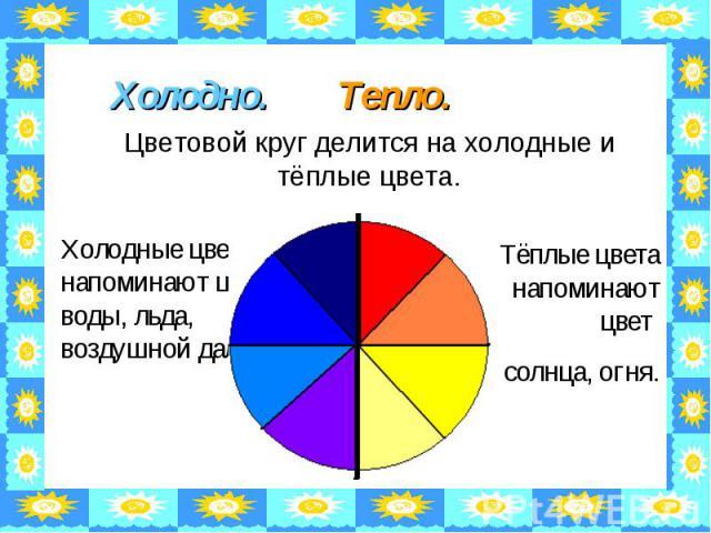 Холодно. Тепло. Цветовой круг делится на холодные и тёплые цвета. Холодные цвета напоминают цвет воды, льда, воздушной дали. Тёплые цвета напоминают цвет солнца, огня.