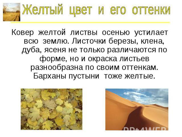 Желтый цвет и его оттенки Ковер желтой листвы осенью устилает всю землю. Листочки березы, клена, дуба, ясеня не только различаются по форме, но и окраска листьев разнообразна по своим оттенкам. Барханы пустыни тоже желтые.