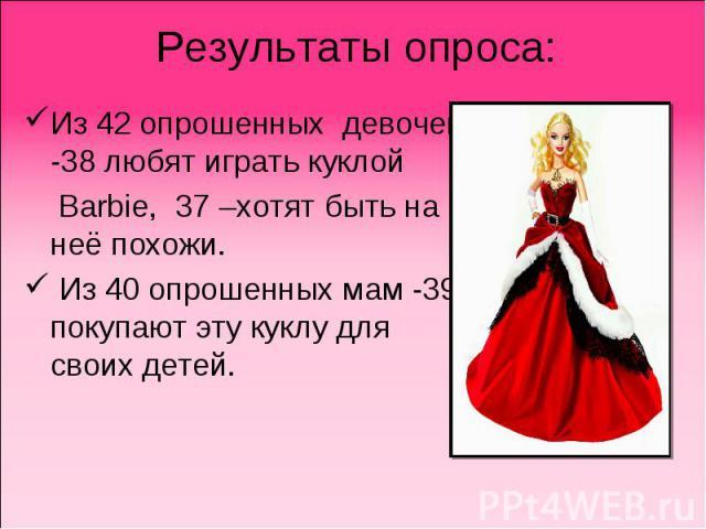 Результаты опроса:Из 42 опрошенных девочек -38 любят играть куклой Barbie, 37 –хотят быть на неё похожи. Из 40 опрошенных мам -39 покупают эту куклу для своих детей.
