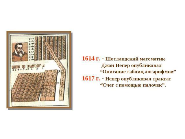 """1614 г. - Шотландский математик Джон Непер опубликовал """"Описание таблиц логарифмов"""" 1617 г. - Непер опубликовал трактат """"Счет с помощью палочек""""."""