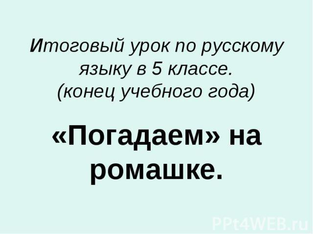 Итоговый урок по русскому языку в 5 классе. (конец учебного года) «Погадаем» на ромашке.