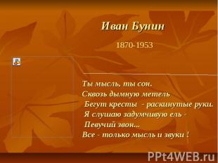 Иван Бунин Ты мысль, ты сон. Сквозь дымную метель Бегут кресты - раскинутые руки