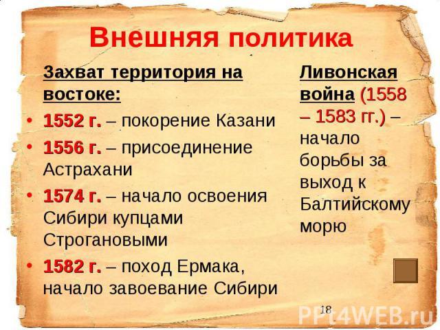 Внешняя политика Захват территория на востоке: 1552 г. – покорение Казани 1556 г. – присоединение Астрахани 1574 г. – начало освоения Сибири купцами Строгановыми 1582 г. – поход Ермака, начало завоевание Сибири Ливонская война (1558 – 1583 гг.) – на…