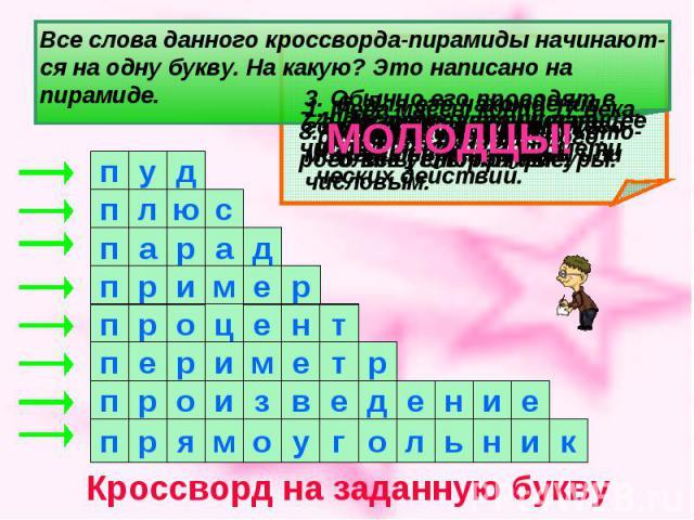Все слова данного кроссворда-пирамиды начинают- ся на одну букву. На какую? Это написано на пирамиде.