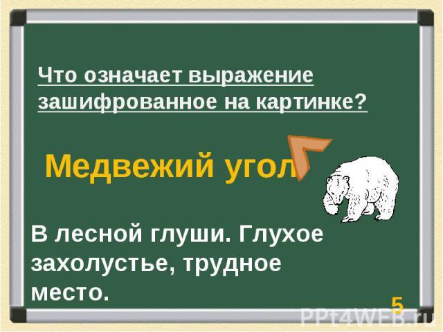 Что означает выражение зашифрованное на картинке? Медвежий угол В лесной глуши. Глухое захолустье, трудное место.