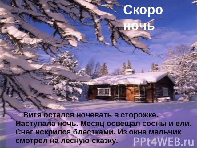 Скоро ночь Витя остался ночевать в сторожке. Наступала ночь. Месяц освещал сосны и ели. Снег искрился блестками. Из окна мальчик смотрел на лесную сказку.