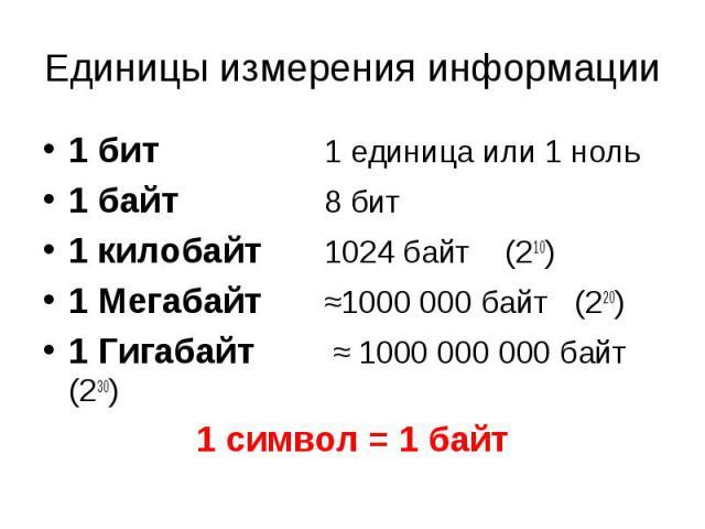 Единицы измерения информа ции 1 бит 1 единица или 1 ноль 1 байт 8 бит 1 килобайт 1024 байт (210) 1 Мегабайт ≈1000 000 байт (220) 1 Гигабайт ≈ 1000 000 000 байт (230) 1 символ = 1 байт