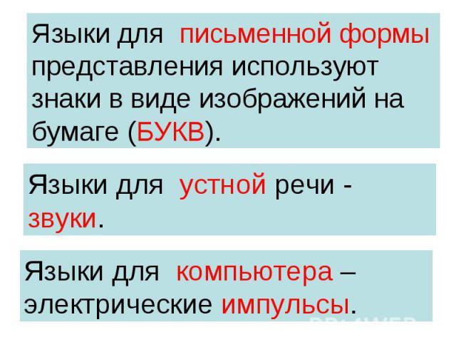 Языки для письменной формы представления используют знаки в виде изображений на бумаге (БУКВ). Языки для устной речи - звуки. Языки для компьютера – электрические импульсы.