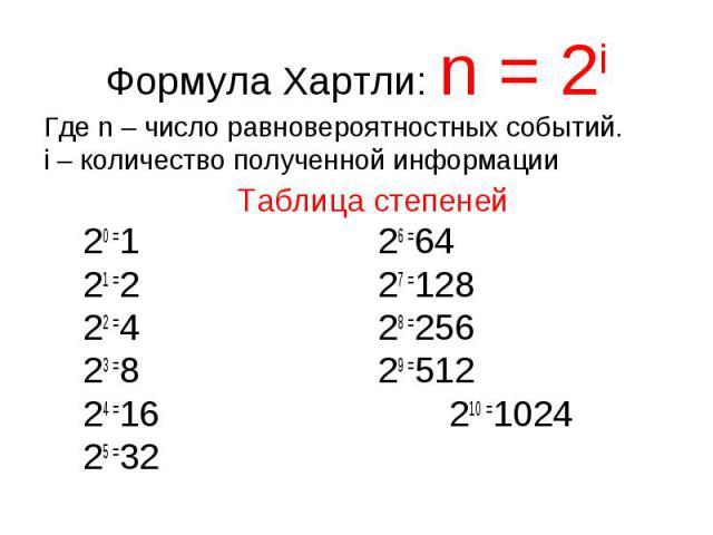 Формула Хартли: n = 2iГде n – число равновероятностных событий. i – количество полученной информации Таблица степеней 20 =1 26 =64 21 =2 27 =128 22 =4 28 =256 23 =8 29 =512 24 =16 210 =1024 25 =32
