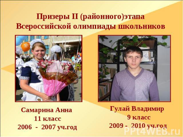 Призеры II (районного)этапа Всероссийской олимпиады школьников Самарина Анна 11 класс 2006 - 2007 уч.год Гулай Владимир 9 класс 2009 - 2010 уч.год
