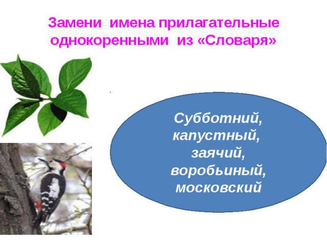 Замени имена прилагательные однокоренными из «Словаря»Субботний, капустный, заячий, воробьиный, московский