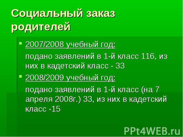 Социальный заказ родителей 2007/2008 учебный год: подано заявлений в 1-й класс 116, из них в кадетский класс - 33 2008/2009 учебный год: подано заявлений в 1-й класс (на 7 апреля 2008г.) 33, из них в кадетский класс -15