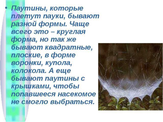 Паутины, которые плетут пауки, бывают разной формы. Чаще всего это – круглая форма, но так же бывают квадратные, плоские, в форме воронки, купола, колокола. А еще бывают паутины с крышками, чтобы попавшееся насекомое не смогло выбраться.
