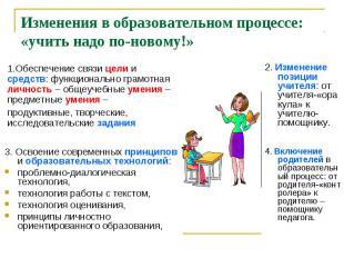 Изменения в образовательном процессе: «учить надо по-новому!»1.Обеспечение связи