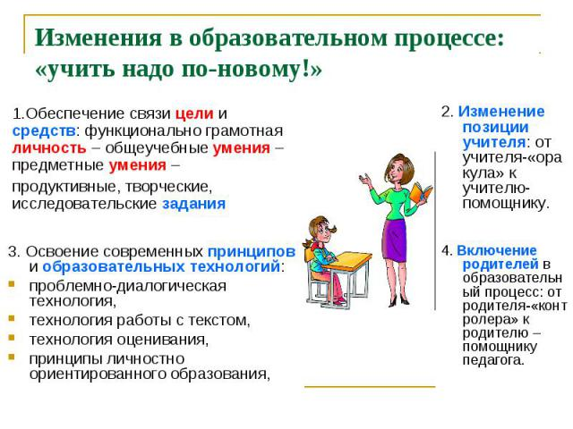 Изменения в образовательном процессе: «учить надо по-новому!»1.Обеспечение связи цели и средств: функционально грамотная личность – общеучебные умения – предметные умения – продуктивные, творческие, исследовательские задания 3. Освоение современных …