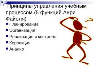 Принципы управления учебным процессом (5 функций Анри Файоля) Планирование Орган