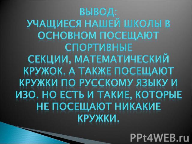 Вывод: учащиеся нашей школы в основном посещают спортивные секции, математический кружок. А также посещают кружки по русскому языку и ИЗО. Но есть и такие, которые не посещают никакие кружки.