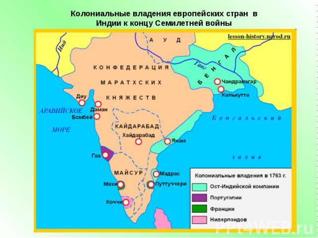 Колониальные владения европейских стран в Индии к концу Семилетней войны