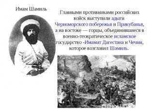 Главными противниками российских войск выступили адыги Черноморского побережья и
