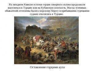 На западном Кавказе остатки горцев северного склона продолжали выселяться в Турц