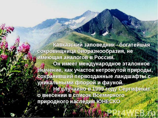 Кавказский заповедник - богатейшая сокровищница биоразнообразия, не имеющая аналогов в России. Он имеет международное эталонное значение, как участок нетронутой природы, сохранивший первозданные ландшафты с уникальными флорой и фауной. Не случайно в…