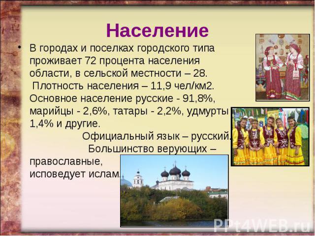 НаселениеВ городах и поселках городского типа проживает 72 процента населения области, в сельской местности – 28. Плотность населения – 11,9 чел/км2. Основное население русские - 91,8%, марийцы - 2,6%, татары - 2,2%, удмурты - 1,4% и другие. Официа…