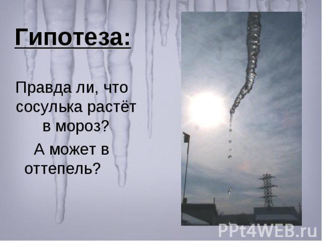 Гипотеза: Правда ли, что сосулька растёт в мороз? А может в оттепель?