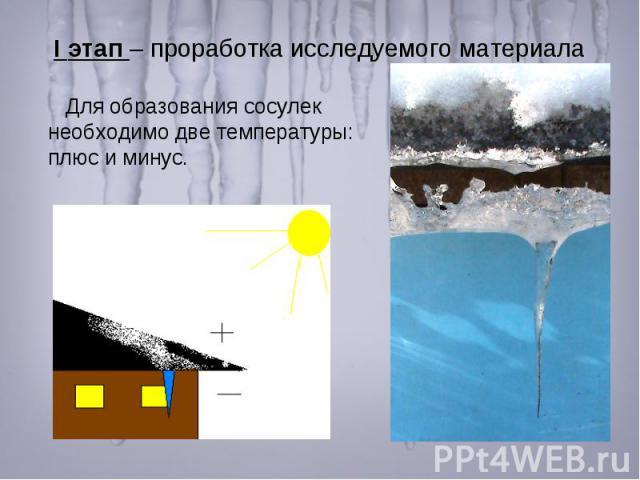 I этап – проработка исследуемого материала Для образования сосулек необходимо две температуры: плюс и минус.