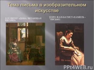 Тема письма в изобразительном искусстве Хох Питер «Дама, читающая письмо» КОРО Ж