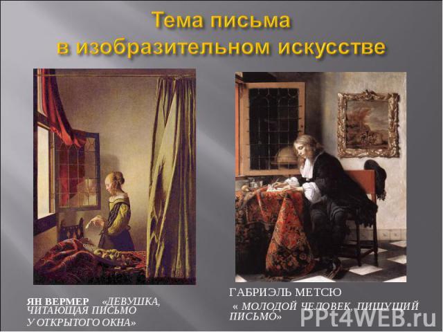 Тема письма в изобразительном искусстве Ян Вермер «Девушка, читающая письмо у открытого окна» Габриэль Метсю « Молодой человек, пишущий письмо»