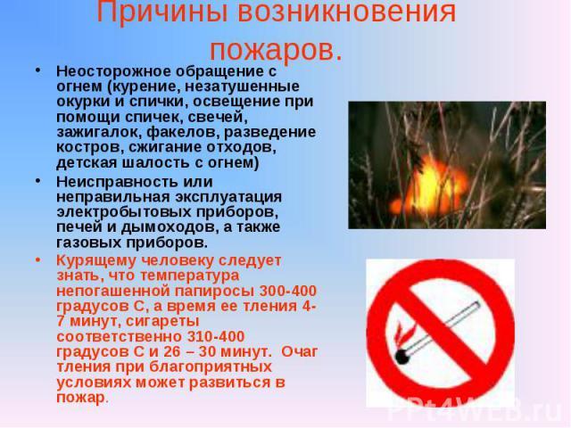 Причины возникновения пожаров. Неосторожное обращение с огнем (курение, незатушенные окурки и спички, освещение при помощи спичек, свечей, зажигалок, факелов, разведение костров, сжигание отходов, детская шалость с огнем) Неисправность или неправиль…