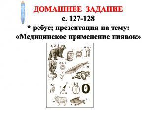 ДОМАШНЕЕ ЗАДАНИЕ с. 127-128 * ребус; презентация на тему: «Медицинское применени