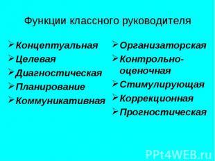 Функции классного руководителя Концептуальная Целевая Диагностическая Планирован