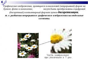 Графические изображения, хранящиеся в аналоговой (непрерывной) форме на бумаге,