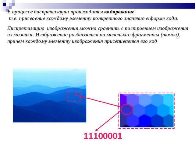 В процессе дискретизации производится кодирование, т.е. присвоение каждому элементу конкретного значения в форме кода. Дискретизацию изображения можно сравнить с построением изображения из мозаики. Изображение разбивается на маленькие фрагменты (точ…