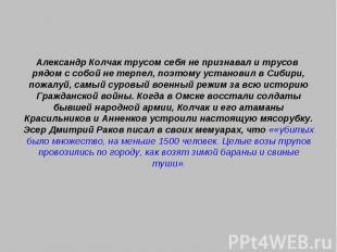 Александр Колчак трусом себя не признавал и трусов рядом с собой не терпел, поэт