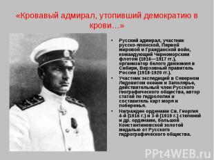 «Кровавый адмирал, утопивший демократию в крови…»Русский адмирал, участник русск