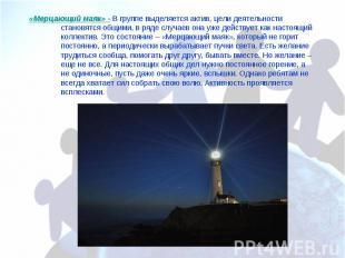 «Мерцающий маяк» - В группе выделяется актив, цели деятельности становятся общим