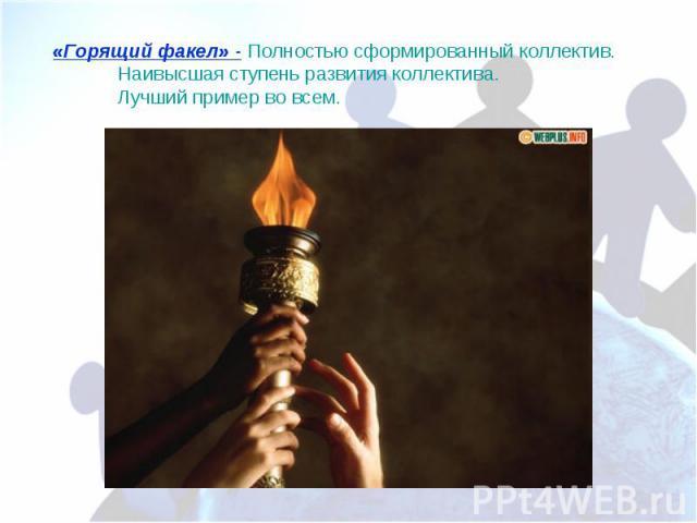 «Горящий факел» - Полностью сформированный коллектив. Наивысшая ступень развития коллектива. Лучший пример во всем.