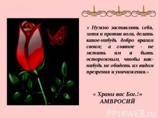 « Нужно заставлять себя, хотя и против воли, делать какое-нибудь добро врагам св