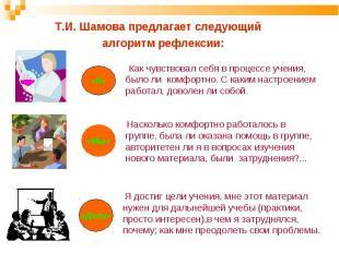 Т.И. Шамова предлагает следующий алгоритм рефлексии: Как чувствовал себя в проце