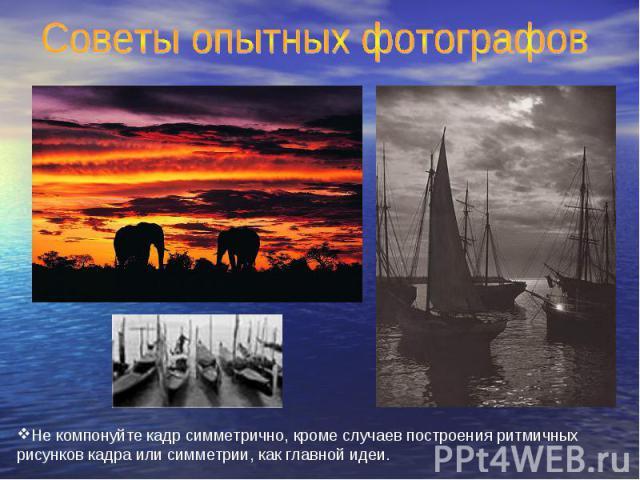 Советы опытных фотографов Не компонуйте кадр симметрично, кроме случаев построения ритмичных рисунков кадра или симметрии, как главной идеи.