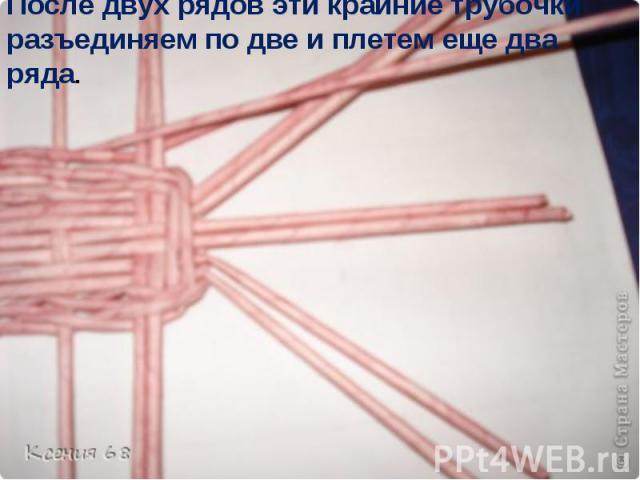 После двух рядов эти крайние трубочки разъединяем по две и плетем еще два ряда.